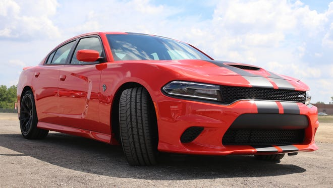 The  2016 Dodge Charger SRT Hellcat on the M1 Concourse track in Pontiac on Tuesday, August 4, 2016.
