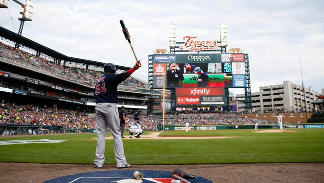 Boston Red Sox designated hitter David Ortiz gets set to bat against the Detroit Tigers at Comerica Park.