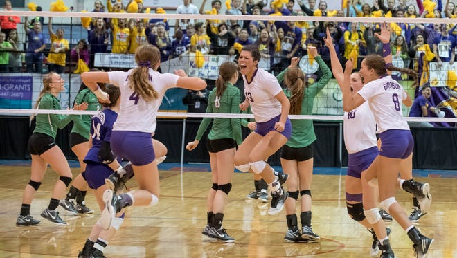 Bronson reacts ofter winning the second game to tie it up at one a piece  during the 2016 Class C State Volleyball Championship at Kellogg Arena on Saturday.