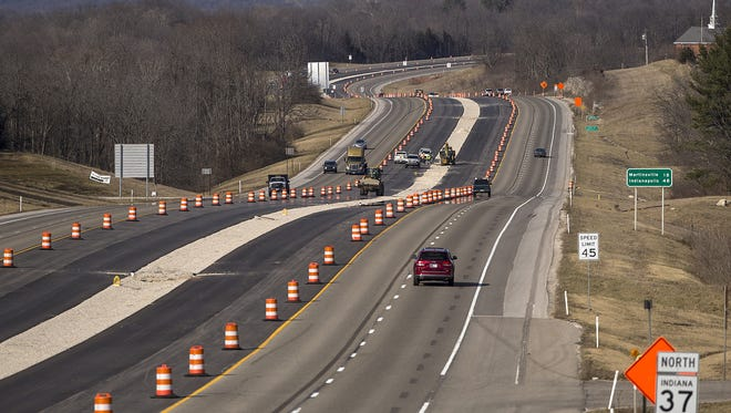 Construction on Ind. 37 for the I-69 extension is seen looking northward from the West Arlington Road Overpass near Bloomington High School North in Bloomington, Ind., Monday, Feb. 13, 2017.
