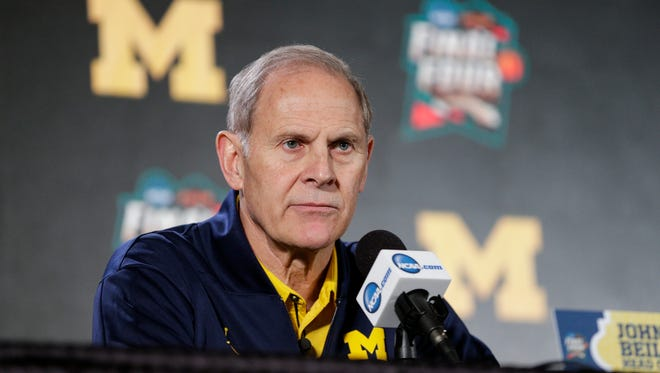Michigan head coach John Beilein answers a question during the press conference at the Alamodome in San Antonio, Texas, Friday, March 30, 2018.