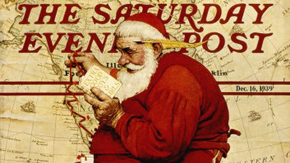 """Extra Good Boys and Girls (Santa on Ladder with Map),"""