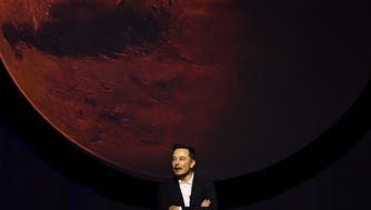 Tesla Motors CEO Elon Musk speaks about the Interplanetary Transport System which aims to reach Mars with the first human crew in history, in the conference he gave during the 67th International Astronautical Congress in Guadalajara, Mexico on September 27, 2016