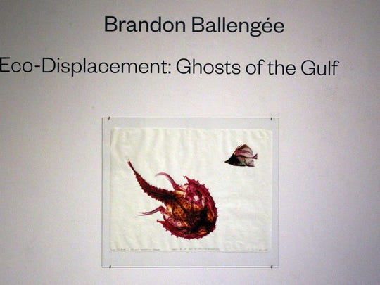 "Artwork in Brandon Balleng?e's exhibit ""Eco-Displacement: Ghosts of the Gulf"" is pictured Tuesday, December 16, 2014, at the Acadiana Center for the Arts in Lafayette, La."