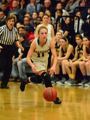 (SPORTS)             01/08/15             Manasquan, NJ Manasquan hosted St. John Vianney in a girls varsity basketball matchup on Friday evening. Manasquan's Stella Clark (11) dribbles upcourt during the second half. Frank Galipo/Correspondent ASB 0109 Girls Hoops Wrap D
