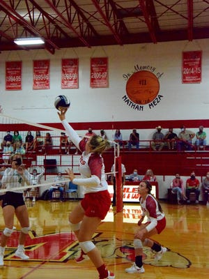 Miles Lady Bulldogs junior Regan Smithwick hits the ball back over the net against the Wall Hawks on August 18th.