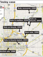 This map shows important investigative milestones in
