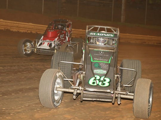 Bryan Clauson (63) leads the field at Lincoln Speedway on June 8 during the USAC Sprint Eastern Storm Series. Clauson won the race and the overall title.