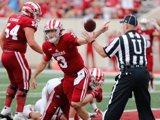 Indiana's Tyler Green (3) scores a touchdown after recovering a fumble during an NCAA college football game Saturday, Oct. 7, 2017, in Bloomington, Ind. ( Jeremy Hogan/The Herald-Times via AP)
