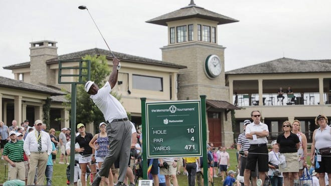 Vijay Singh tees off on No. 10 during the second round of the Memorial Tournament on June 1, 2018.