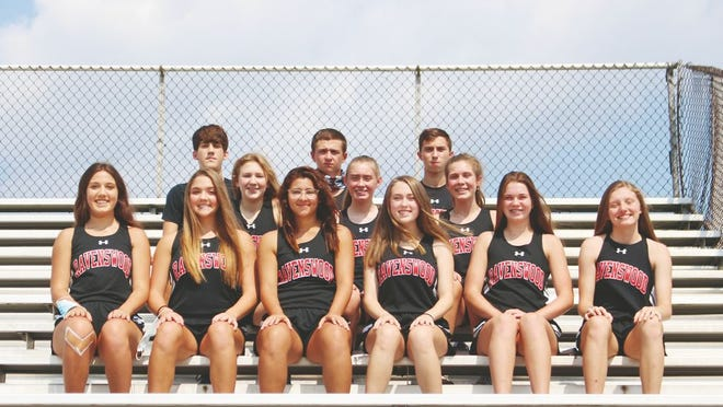 Members of the Ravenswood High School Cross Country team from front to back, left to right are: Lydia Alfred, Sami Maxson, Taylor Heath, Olivia Long, Brook Meadows, and Hadleigh McGoskey. Second row: Emily Wratchford, Madisyn Whited, and Maci Mosser. Third row: Logan Alfred, Houston Kessell, and Cade Curfman.