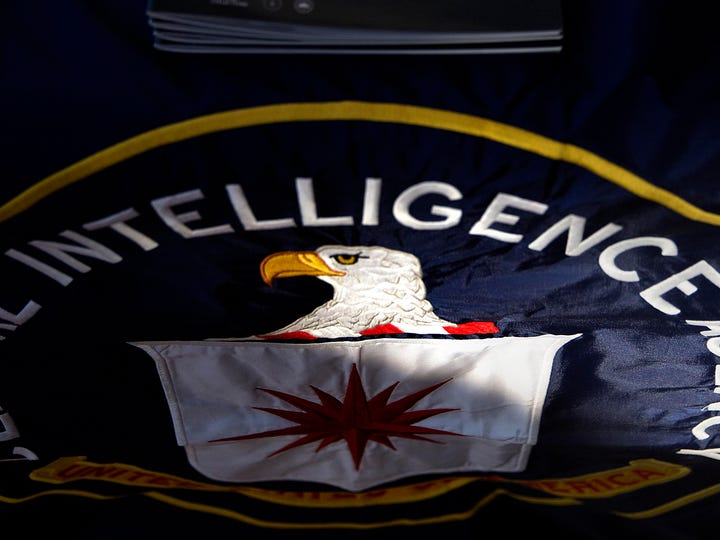 In this Nov. 13, 2013 file photo, a CIA seal is seen