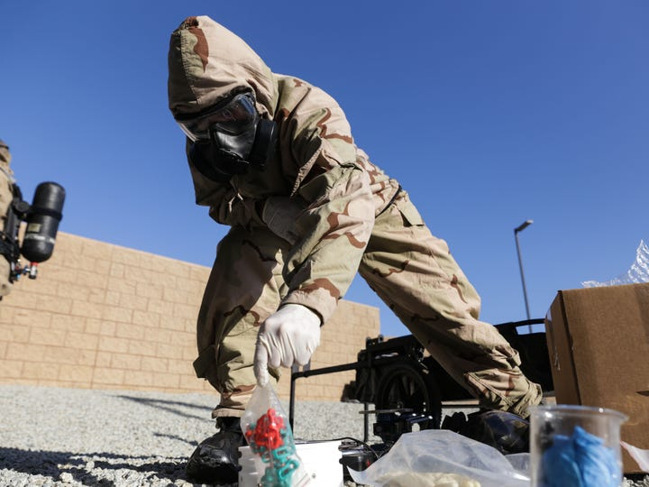 Marines with the 11th Marine Expeditionary Unit sort