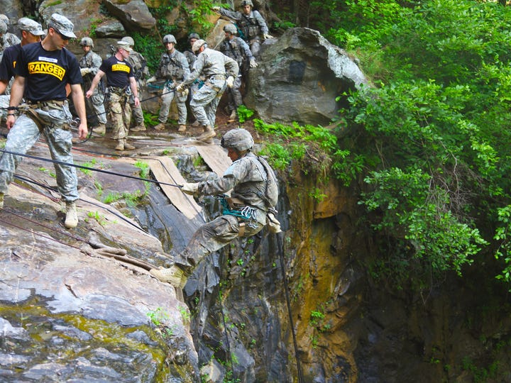 Soldiers participate in rappel training during the