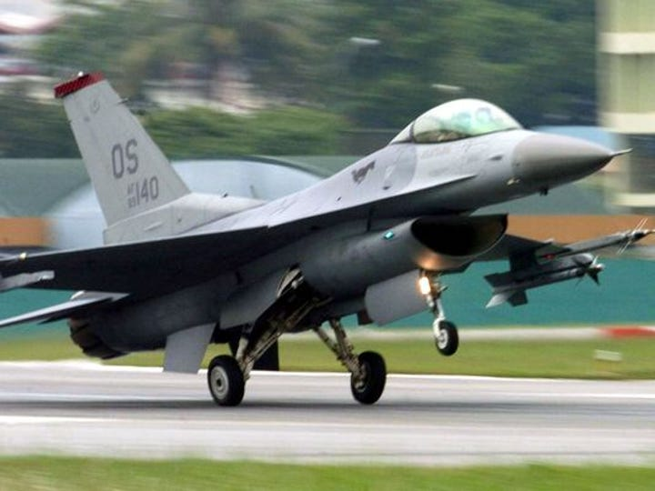 Authorities say an F-16 fighter jet from an Air Force
