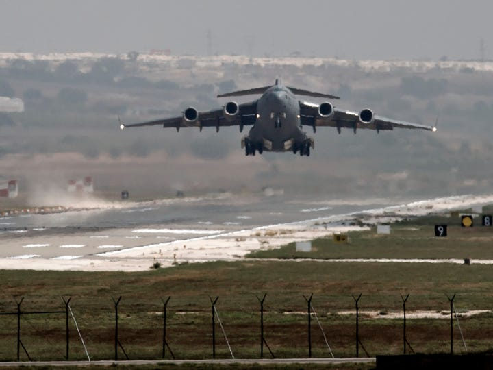 A U.S. Air Force aircraft takes off from Incirlik Air