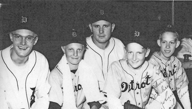 From left to right: Walter O. Briggs III, Mickey Briggs, Tigers pitcher Virgil Trucks, Jimmy Briggs and Elliott Trumbull at Briggs Stadium in the late 1940s. Briggs Stadium became Tiger Stadium in 1961.