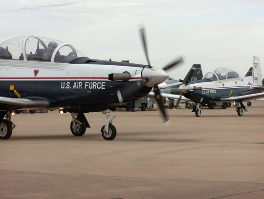 In this file photo, T-6 Texan II trainer aircraft are seen at Sheppard Air Force Base. The base reported a crash involving a T-6 around 2 p.m. Wednesday near Lake Waurika.