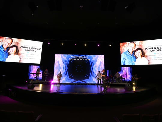 Sunday sermons are simulcast so that worshipers at
