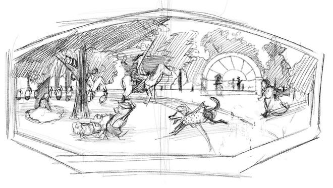Artists' sketch of a mural being created by David Carpenter and Erin LaBonte at Manitowoc Public Library.