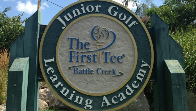 The First Tee of Battle Creek sign at the Binder Park Golf Course.