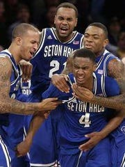 Sterling Gibbs celebrates after hitting game-winning shot vs. Villanova in 2014 Big East Tournament.