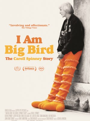 "Caroll Spinney on the cover of his DVD documentary, ""I am Big Bird."""