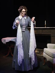 "Lydia McCleary rehearses as Jane in DreamWrights Theatre's production of ""Jane Eyre"""