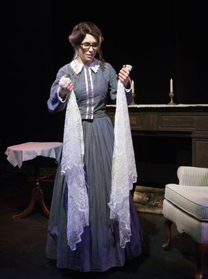 """Lydia McCleary rehearses as Jane in DreamWrights Theatre's production of """"Jane Eyre"""""""