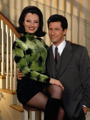 Fran Drescher (left, as Fran Fine) and Charles Shaughnessy (right, as Maxwell Sheffield) star in THE NANNY.