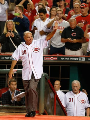 Former Reds pitcher Gary Nolan acknowledges the crowd during a ceremony honoring Reds alumni at Great American Ball Park in August of 2014.