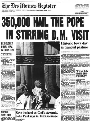 DM Register Oct. 5, 1979. Pope visits Des Moines