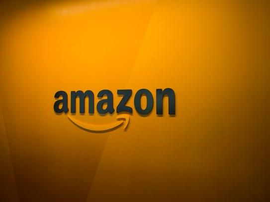 An Amazon logo is seen inside the Amazon corporate