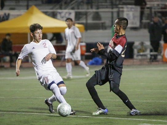 Erick Serrano moves the ball for the Desert Mirage High School boys' soccer team. The Rams beat Indian Springs of San Bernardino 3-2 in the CIF-SS Division 4 championship game.