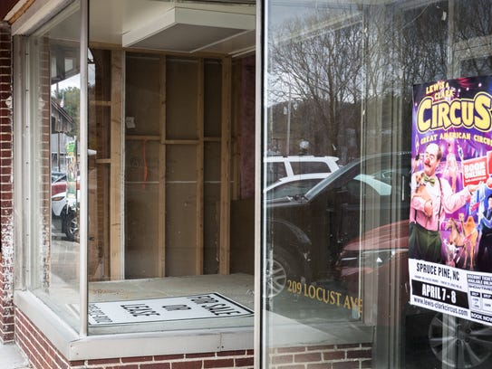 Empty storefronts on Locust Street in Spruce Pine.