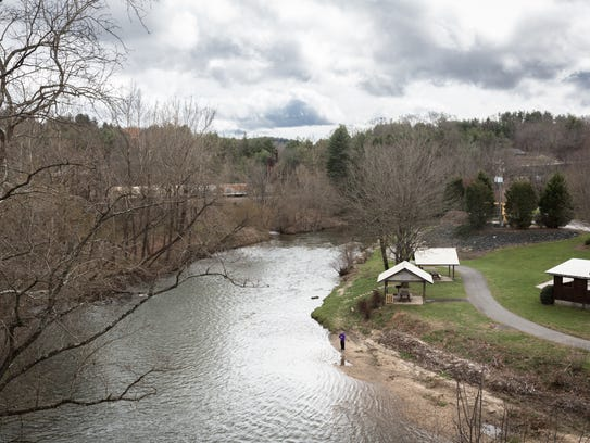 The North Toe River which runs through Spruce Pine.