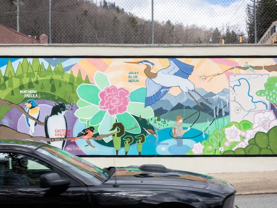 A mural on Locust Street in Spruce Pine. The town was