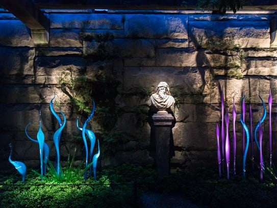 A display of glass blown work in the Pergola on the