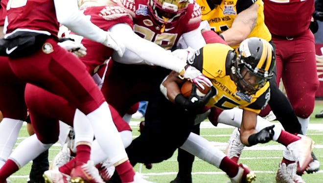 Southern Miss's Ito Smith during the 2017 Independence Bowl.