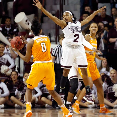 Mississippi State guard Morgan William (2) attempts