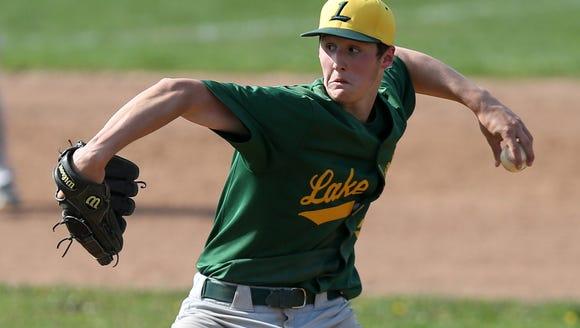 Lakeland's Joey Vetrano (5) pitching against Byram