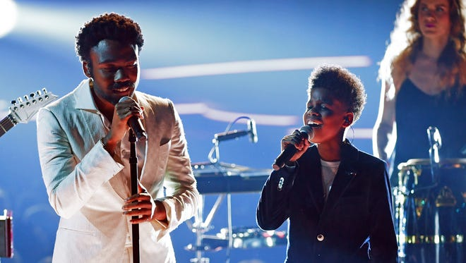 Louisville drummer Dani Markham is hidden on the Grammys stage behind artists Childish Gambino and JD McCrary on Sunday.