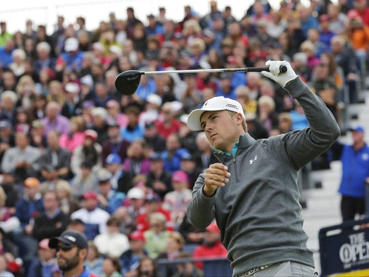 United Statesâ?? Jordan Spieth plays from the 17th tee during the third round at the British Open Golf Championship at the Old Course, St. Andrews, Scotland, Sunday, July 19, 2015. (AP Photo/David J. Phillip)