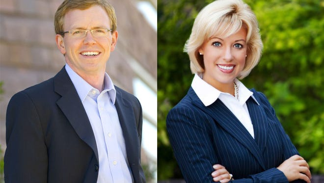 Dusty Johnson, left, and Shantel Krebs, right, are running as Republicans for the U.S. House of Representatives.