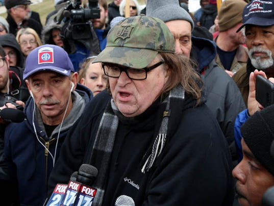 Michael Moore in Flint for a rally on water