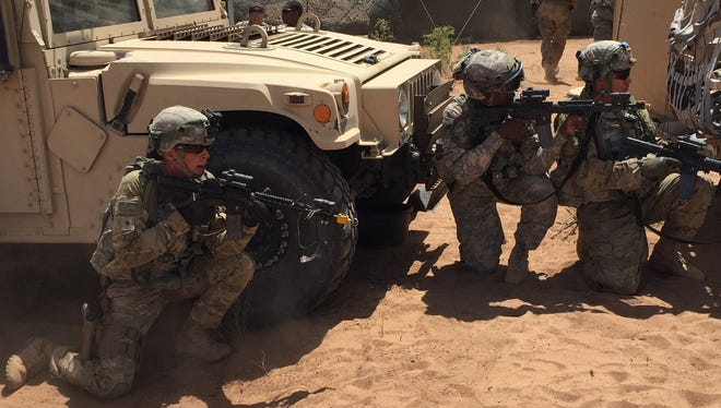Soldiers from the 47th Brigade Support Battalion respond to an enemy attack during the Network Integration Evaluation in spring 2016. The 2nd Brigade is transitioning from being the Army's test unit to being fully deployable.