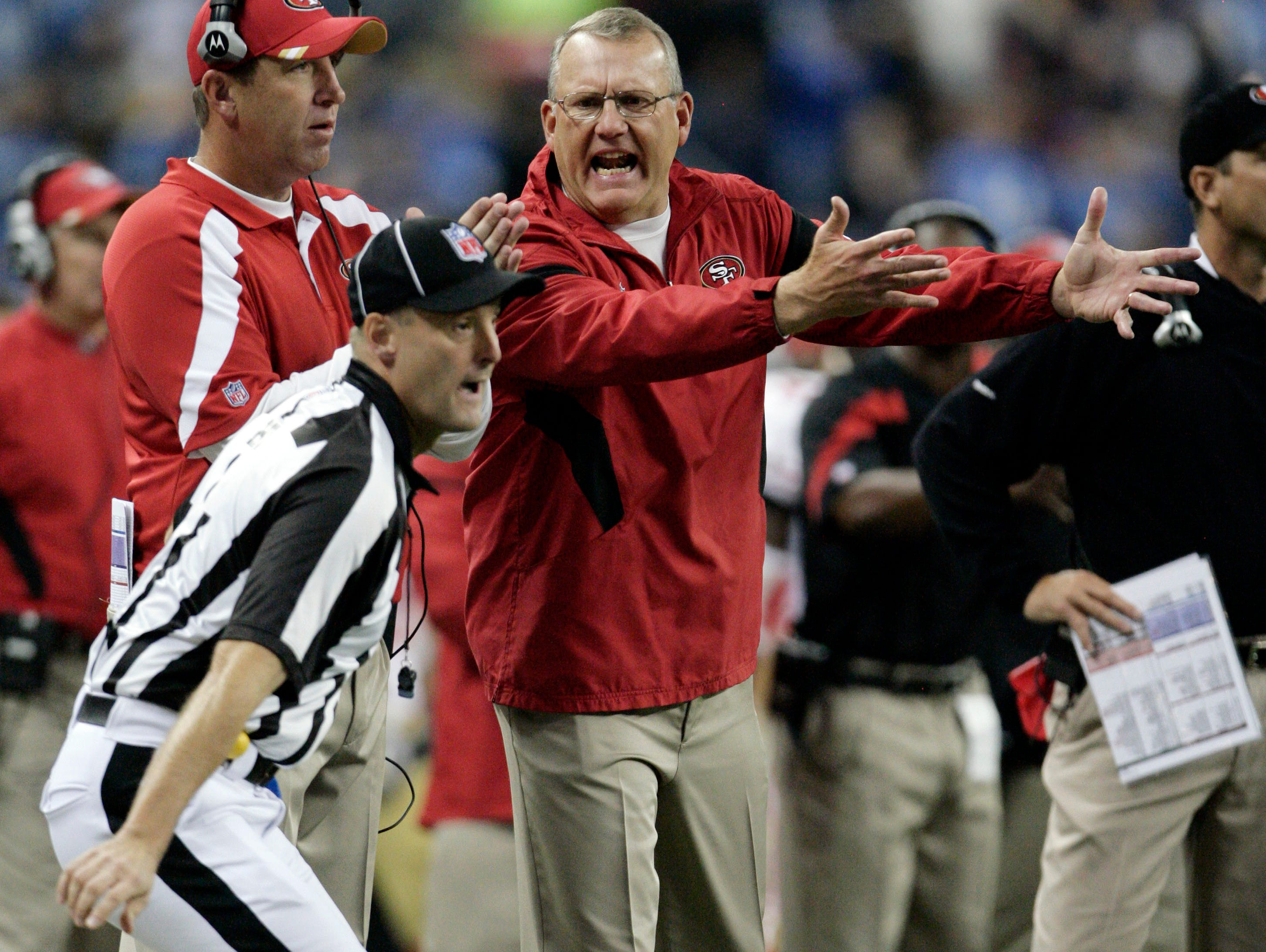 He's used to it: Head linesman Dana McKenzie worked through the vocal protest of San Francisco 49ers assistant head coach Brad Seely in a game last fall.