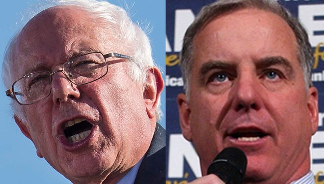Bernie Sanders and Howard Dean pictured during their runs for the Democratic presidential nomination in 2015 and 2003, respectively.