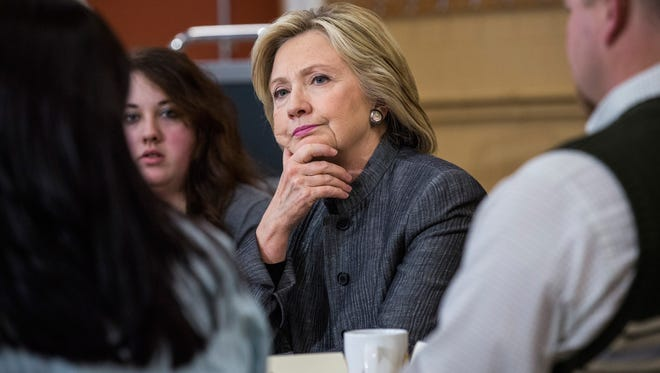 Hillary Clinton speaks with students and faculty at a community college in Concord, N.H., on April 21, 2015.
