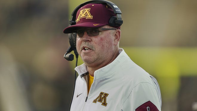 Jerry Kill stands on the sideline during Minnesota's game against Purdue in 2015.